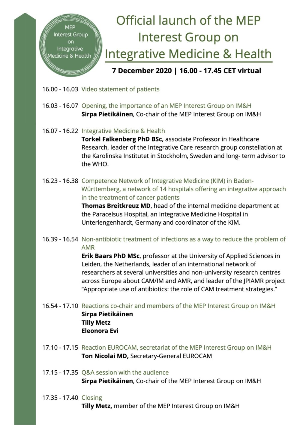 AGENDA MEP Interest Group on Im & Health 041220